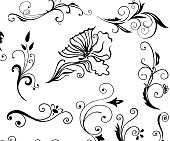 Black and curvy floral elements