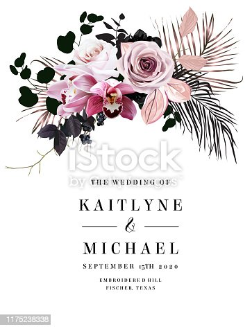 Black and dusty pink flowers glamour vector design bouquet frame. Dusty rose, pink cymbidium orchid, berry, bronze and black palm leaves.Floral dark luxury style.All elements are isolated and editable