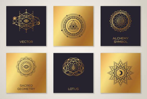 Black and Gold Alchemy Symbols vector art illustration