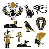 Black and gold ancient Egyptian silhouettes in vector