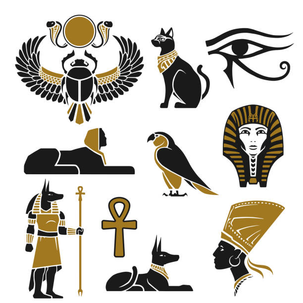 Black and gold ancient Egyptian silhouettes Black and gold ancient Egyptian silhouettes in vector egypt stock illustrations