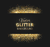 Black and gold background with glitter frame and space for text. Vector glitter decoration, golden dust. Great for christmas and birthday cards, wedding invitation, party posters and flyers.