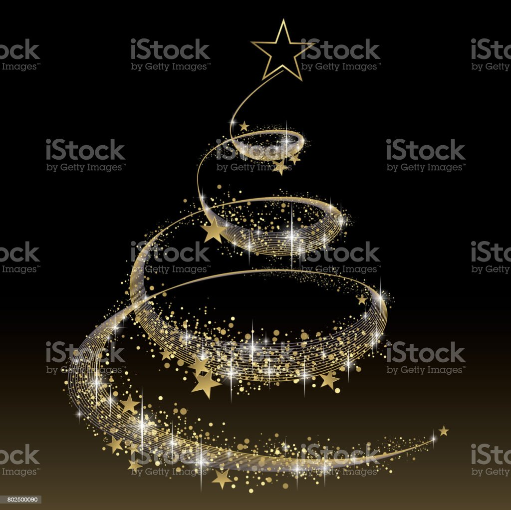 black and gold christmas tree royalty free stock vector art - Black And Gold Christmas Tree