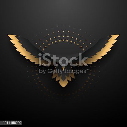 istock Black and gold eagle illustration 1211156220