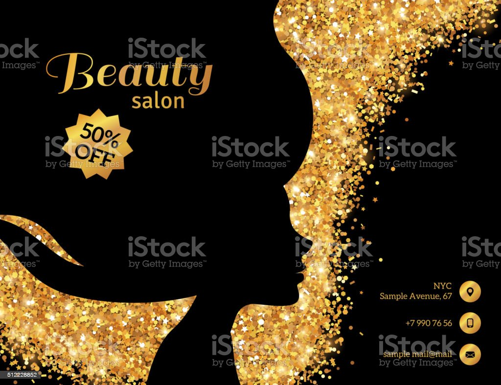 Black and Gold Fashion Woman vector art illustration
