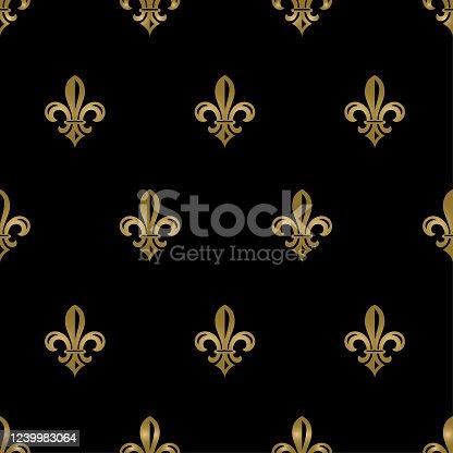 istock Black and Gold Fleur de Lys Seamless Patttern 1239983064