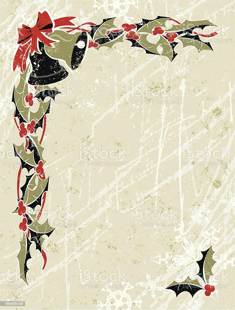 Black and Gold Holly, Bell Christmas Corner vector art illustration