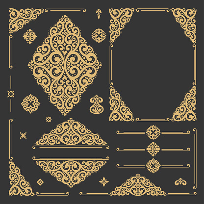 Black and gold luxury vector set of vintage elements. Elegant, classic pattern. Great for logo, monogram, invitation, flyer, menu, brochure, emblem, packaging, background or any desired idea.