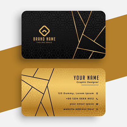 black and gold luxury vip business card design template
