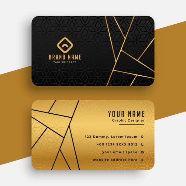illustrations, cliparts, dessins animés et icônes de modèle de conception de carte de visite vip de luxe noir et or - carte de visite