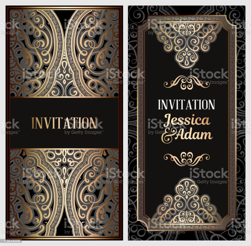 Black And Gold Luxury Wedding Invitation Card With Golden