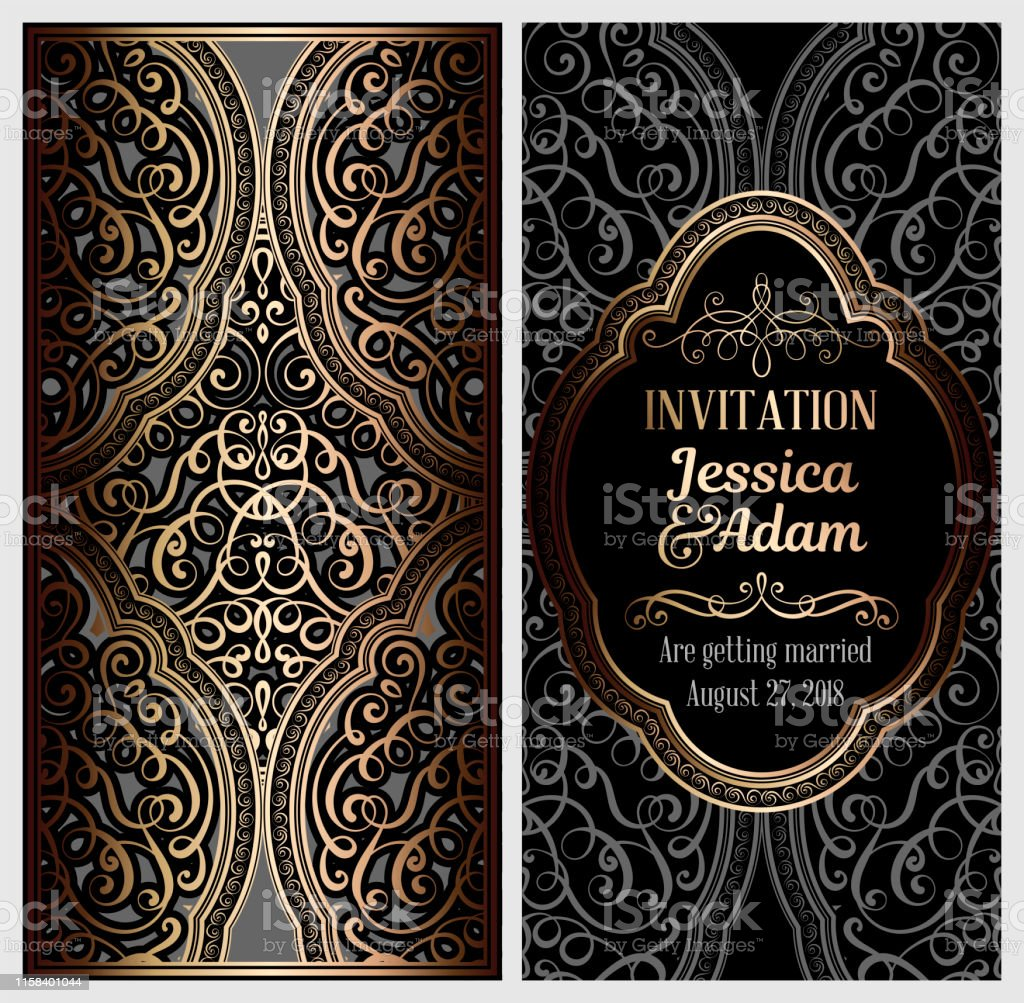 Black And Gold Luxury Wedding Invitation Card With Golden Shiny Eastern And  Baroque Rich Foliage Ornate Islamic Background For Your Design Islam Arabic  Indian Dubai Stock Illustration - Download Image Now - iStock