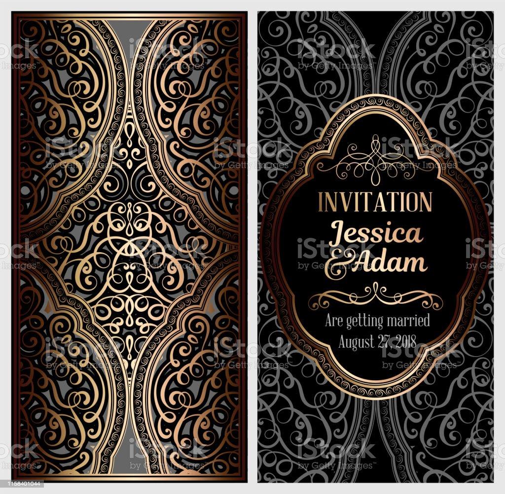 Carte Dinvitation De Mariage De Luxe En Noir Et Or Avec Feuillage Oriental Brillant Doré Et Baroque Fond Islamique Orné Pour Votre Conception Islam