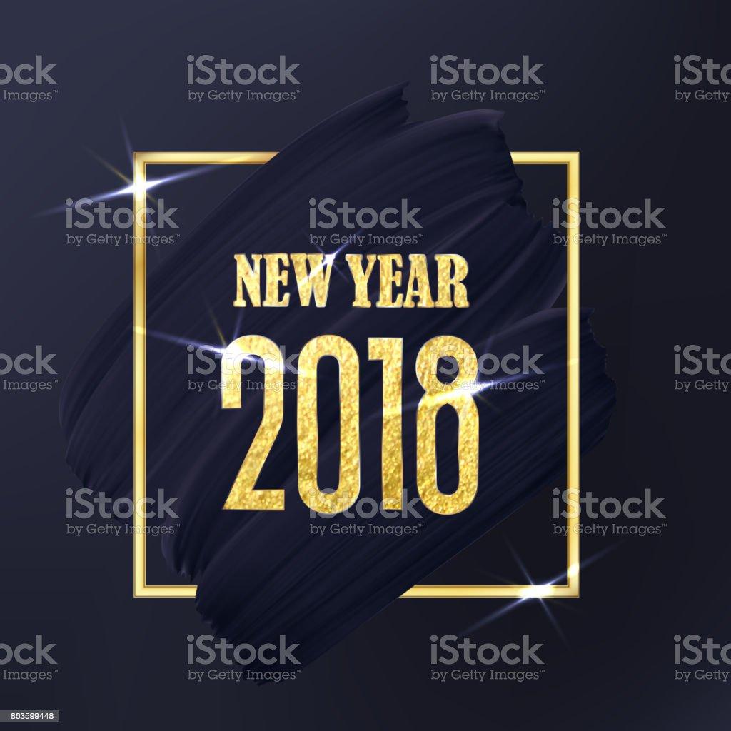 Schwarz Und Gold Neujahr 2018 Kunst Abstrakte Emblem ...