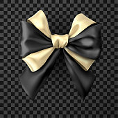 Black and golden bicolor realistic beautiful satin bow for gift isolated on transparent background. Vector illustration.