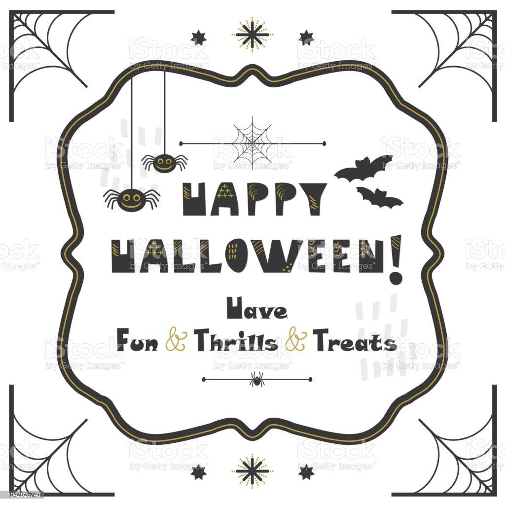 Svarta och gyllene abstrakt söt Happy Halloween emblem gratulationskort på vit bakgrund vektorkonstillustration