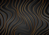 Black and golden curved waves abstract luxury background. Vector dark geometric design