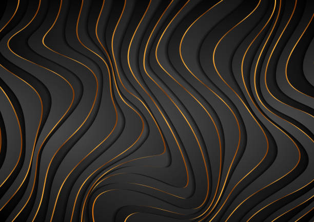 Black and golden curved waves abstract luxury background vector art illustration