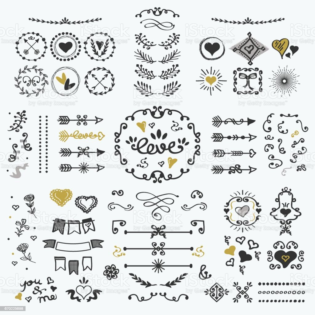 Black and golden hand drawn cute design elements set on white background vector art illustration