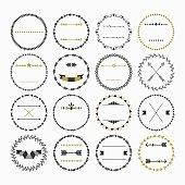Black and golden hand drawn empty circle emblems design elements set on white background
