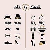 Black and golden hipster Men Vs Women accessory design icons