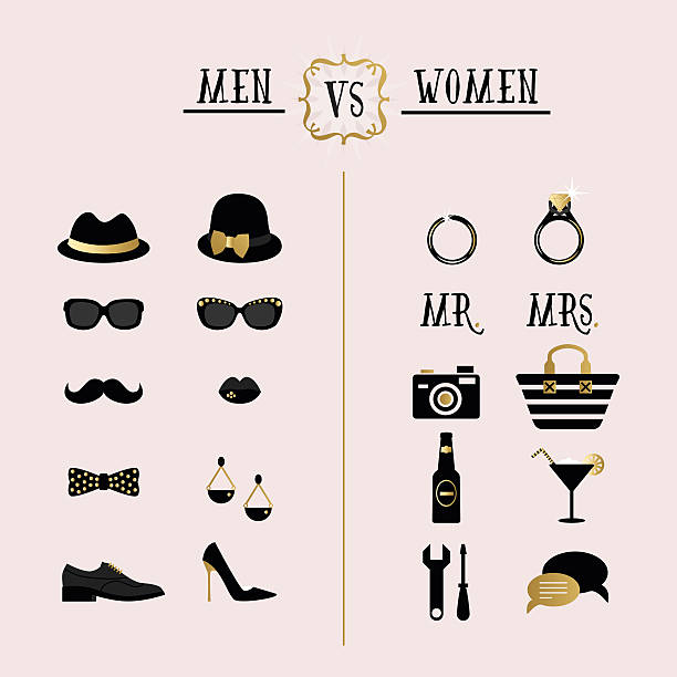 Black and golden hipster Men Vs Women accessory design icons Black and golden hipster Men Vs Women accessory design icons suave stock illustrations