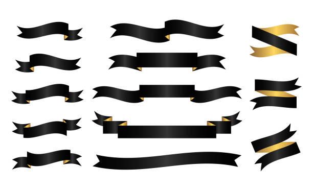 검은색과 금색 리본 - 검정 stock illustrations