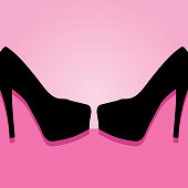 Vector illustration of two black high heel shoes on a bright pink background.