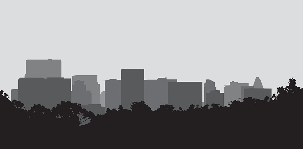Black and gray silhouette of a cityscape