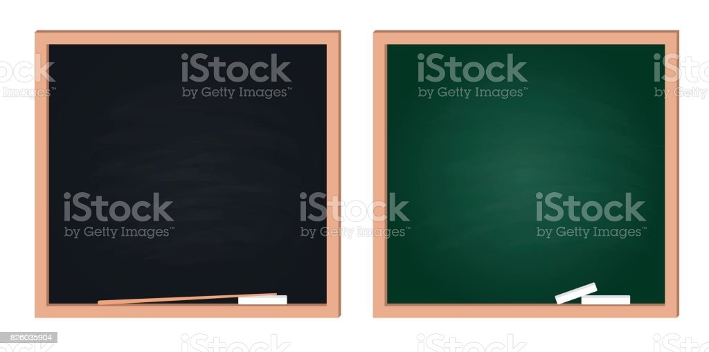 Black and green chalkboards isolated on white background. vector art illustration