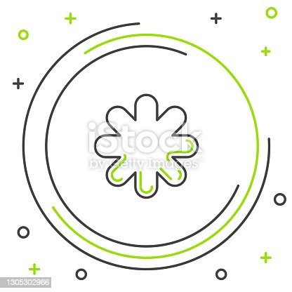 istock Black and green line Cross hospital medical icon isolated on white background. First aid. Diagnostics symbol. Medicine and pharmacy sign. Colorful outline concept. Vector Illustration 1305302966