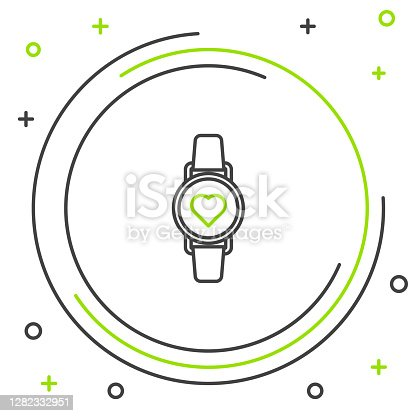 Black and green line Smart watch showing heart beat rate icon isolated on white background. Fitness App concept. Colorful outline concept. Vector Illustration