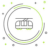 Black and green line Tram and railway icon isolated on white background. Public transportation symbol. Colorful outline concept. Vector Illustration