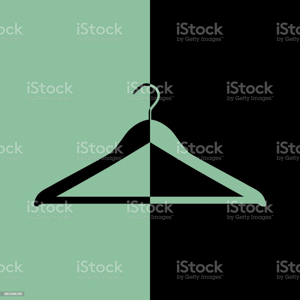 Black And Green Wood Cot Hanger Icon vector art illustration
