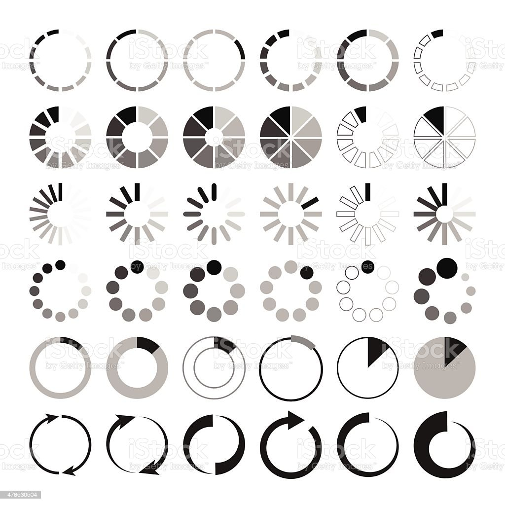 Black and grey loading icons on white background vector art illustration