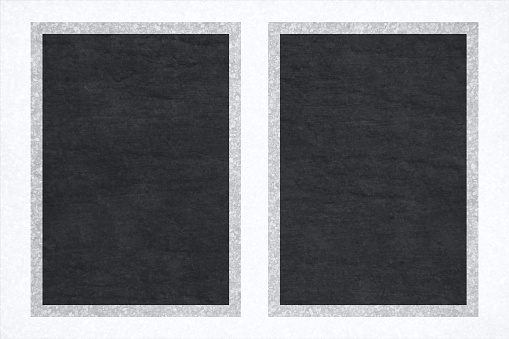 Black and grey red coloured grunge vector backgrounds with two symmetrical bordered frames with gravel or granite like greyish white border all around
