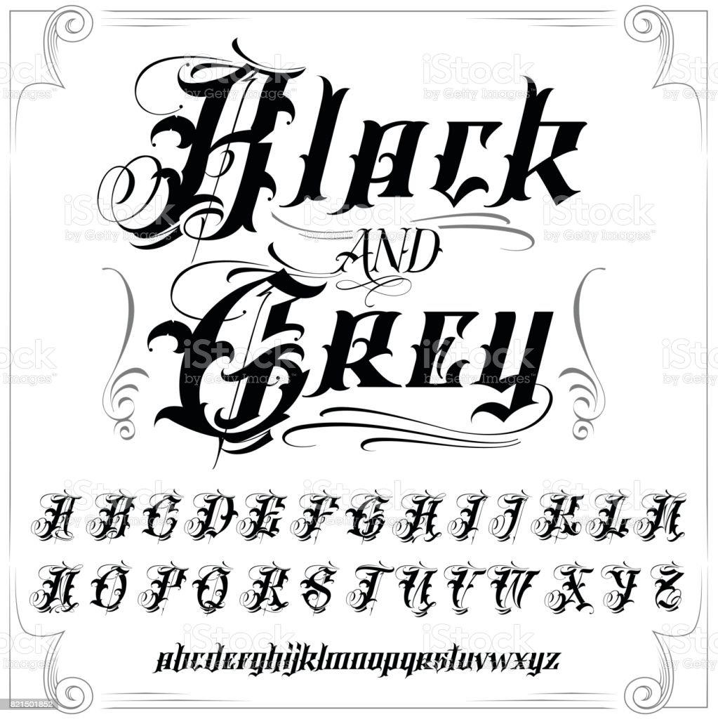 Black And Grey Tattoo Font Set Stock Illustration Download