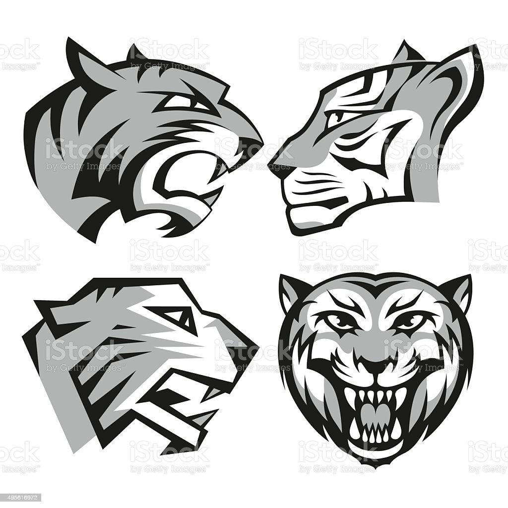 Black and grey tiger head logos set for business or vector art illustration