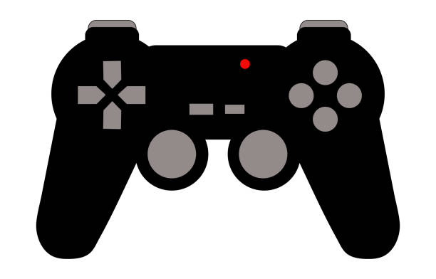 Black and grey video game controller isolated. Gamepad with red light, buttons and joysticks. Icon or logo with gaming concept. Black and grey video game controller isolated. Gamepad with red light, buttons and joysticks. Icon or logo with gaming concept. game controller stock illustrations