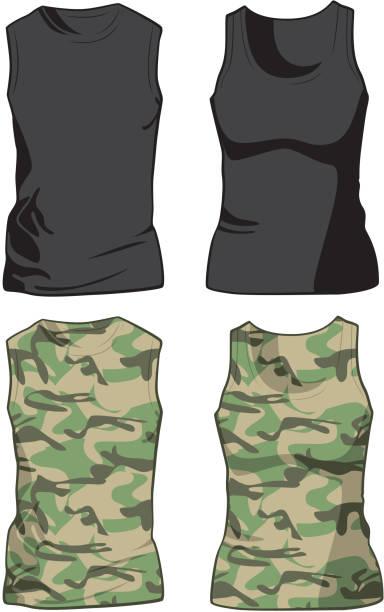 schwarz und military-hemden vorlage - bodysuit stock-grafiken, -clipart, -cartoons und -symbole