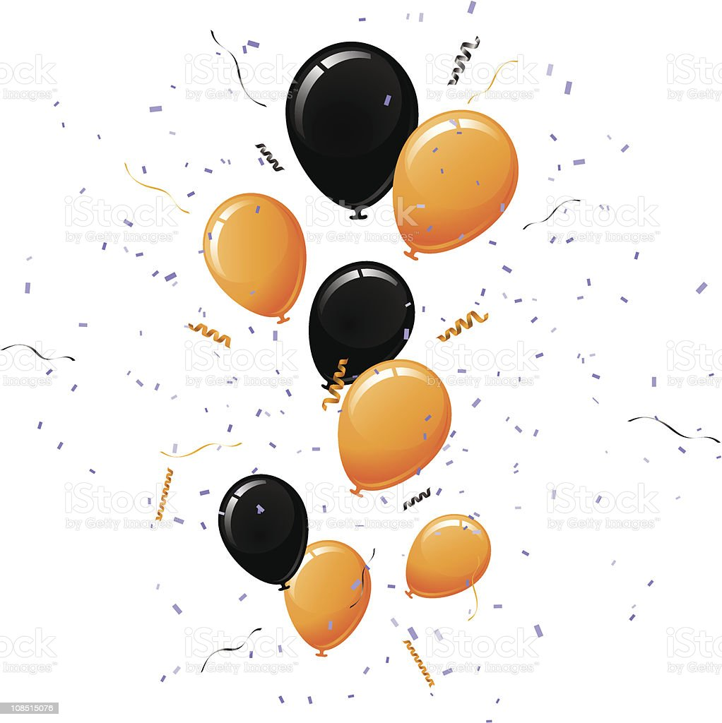 Black and Orange Balloons vector art illustration