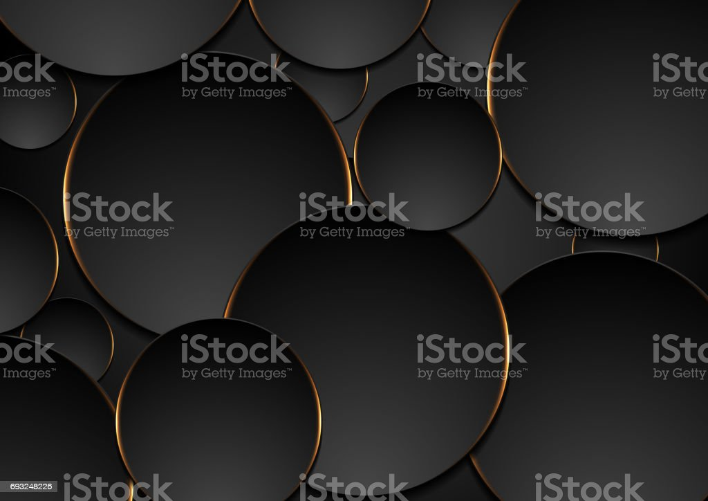 Black and orange circles abstract tech background vector art illustration