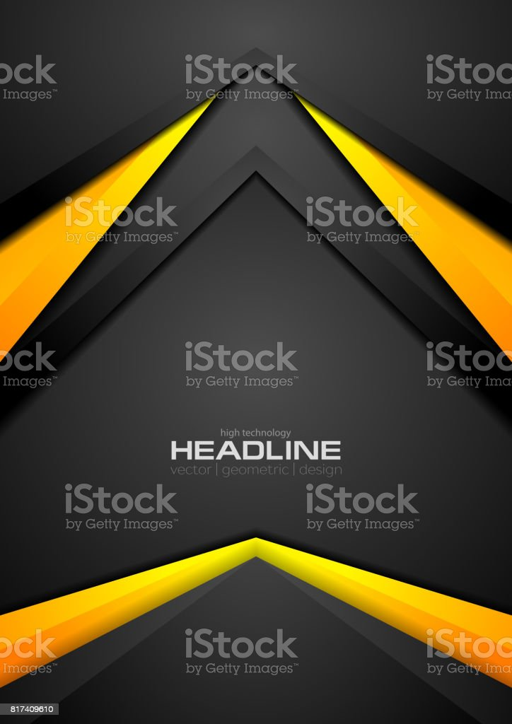 Black and orange contrast abstract tech background vector art illustration