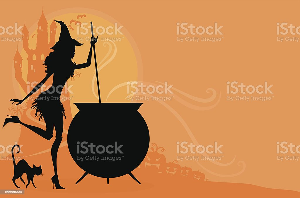 Black and orange Halloween cartoon of a witch and pot vector art illustration