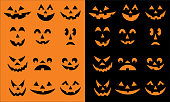 Vector spooky halloween pumpkin faces on orange and black backgrounds.