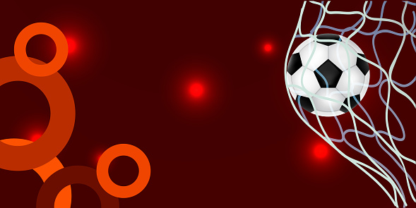 Black and orange sports background with soccer ball and ribbons, realistic vector illustration