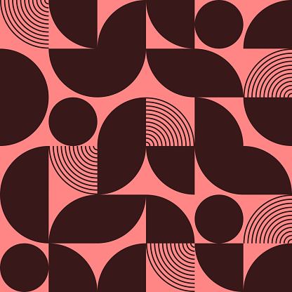 Black and pink abstract vector seamless pattern with geometric shapes.