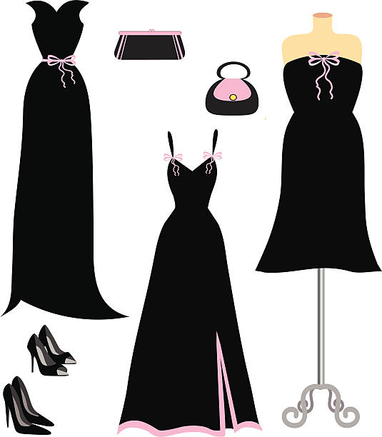 black and pink fashion - prom fashion stock illustrations, clip art, cartoons, & icons