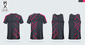 Black and Pink t-shirt sport mockup template design for soccer jersey, football kit, tank top for basketball jersey and running singlet. Sport uniform in front view and back view. Vector.