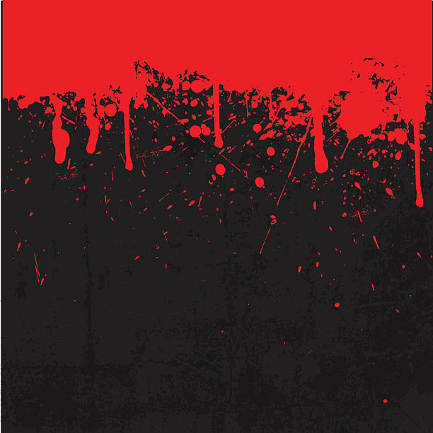 Black and red blood splattered background vector art illustration